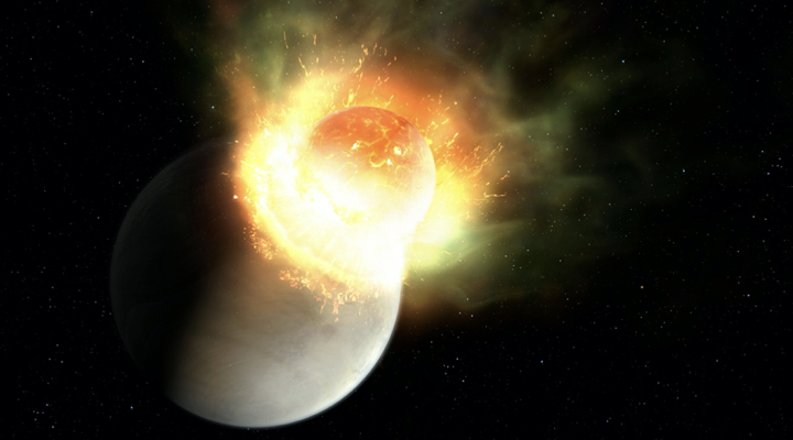 An artist's depiction of the planetary impact in the HD 17255 star system.  Credit: Mark A. Garlick.